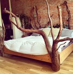 Custom one of a kind driftwood bed frames made to order