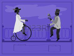 senhora em uma bicicleta perto de um cavalheiro com uma flor em sua m�o. photo