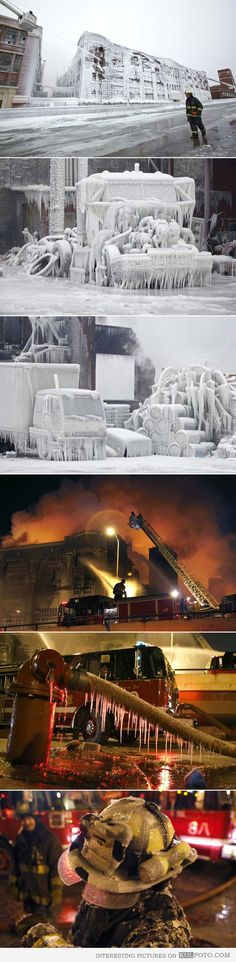 Putting out a fire in freezing weather, Chicago