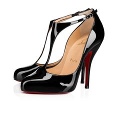 """""""Miss Bettie"""" is a flirtatious pin-up style, formed of a classic T-bar and 120mm 'fetish' heel. In black patent leather, this pair is perfect for date night."""