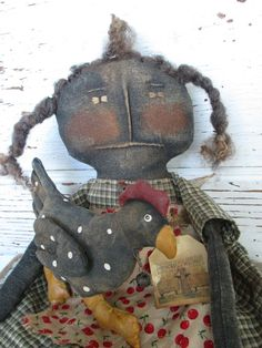 Primitive Grungy Folk Art Doll w/Chicken by OldeAtticPrims on Etsy, $33.00