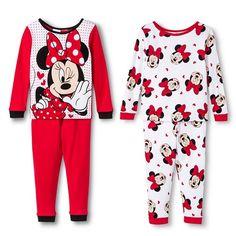 Toddler Girls' Minnie Mouse 4-Piece Pajama Set - Red