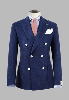 Spring / Summer Mens Combo - Navy double-breasted jacket with blue striped shirt and coral necktie