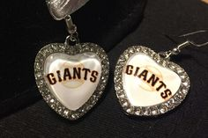San Francisco Giants Earrings Black Orange Baseball Mom Mother's Day SF Giants Jewelry Silver Valentines Day World Series MLB Heart Earrings by JewelrybyJacobe on Etsy