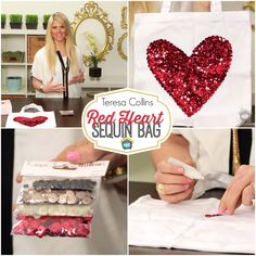 Teresa Collins: Red Heart Sequin Bag - She's BACK!! Teresa returns with a fun project today. She'll show you how to create a darling bag using her sequins and without sewing too!
