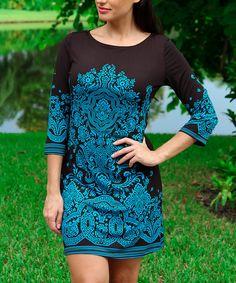 Love this Black & Blue Damask Three-Quarter Sleeve Shift Dress by Modern Touch on #zulily! #zulilyfinds
