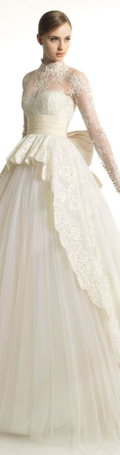 Katrina: Zuhair Murad for Rosa Clara White gown with lace and tulle flower appliques on long sleeves.Champagne Sash