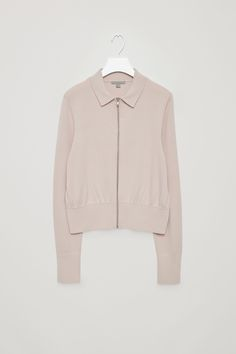 COS image 4 of Cropped zip-up jacket in Biscuit