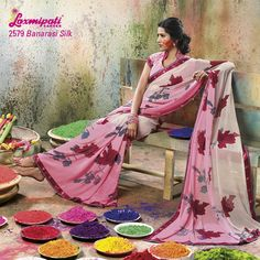 LP_2579 - LIGHT MATCHING OFF WHITE/ PINK COLORED DESIGN ON GEORGETTE