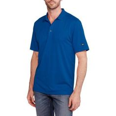 Jack Nicklaus Big Men's 'Stay-Dri' Solid Golf Polo, 2XL, Blue