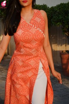 Buy Orange White Printed Modal Rayon Kurti Set by Colorauction - Online shopping for Kurti Sets in India Plain Kurti Designs, Printed Kurti Designs, Simple Kurta Designs, Silk Kurti Designs, Salwar Neck Designs, Kurta Neck Design, Kurta Designs Women, Dress Neck Designs, Kurti Designs Party Wear