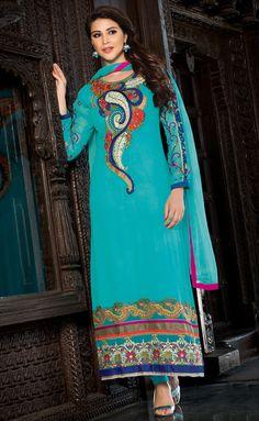 USD 32.65 Aqua Semi Georgette Pakistani Style Suit 54604