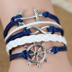 Leather Charm Bracelet Braid Multilayer Infinity Anchor Rudder Bracelet //Price: $9.95 & FREE Shipping //     #photooftheday