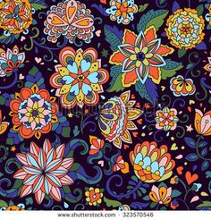 Seamless vector floral pattern. Hand drawn doodle flowers endless background. Can be used for fabrics, wallpapers, greeting and invitation…
