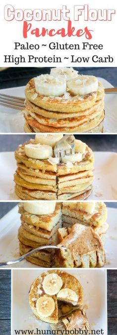 Coconut Flour Pancakes - high protein and high fiber healthy and delicious pancakes! Paleo, gluten free, dairy free, vegetarian and amazing! Ingredients: coconut flour, eggs, egg whites, banana, bakin