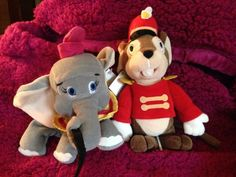 """Disney World Dumbo With Feather And Timothy Mouse 8"""" Beanbag Plush NWT #Disney"""
