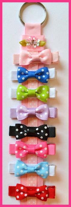 Set of 8 Polka Dot Hair Bows and Hair Bow by FunnyGirlDesigns