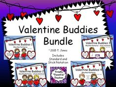 This BUNDLE includes 4 SETS of Valentine Buddies Rhythm Pattern Fun!!! ***SAVE 20% by purchasing this bundle***  Valentine Buddies are a fun way to practice and reinforce quarter note, eighth notes, and quarter rest, half note, and sixteenth notes (ta, ti-ti, rest, tika-tika or tiri-tiri, ta-ah/too) in your music room - especially preparing for Valentine's Day or the whole month of February!
