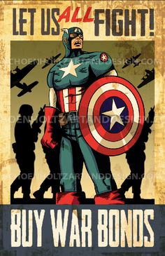 Captain America Propaganda Poster by Erich Schoenholtz, signed 11X17 poster print
