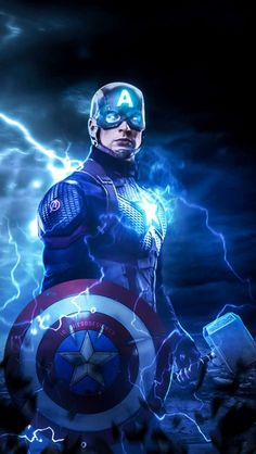 Captain America Lift Thor Hammer iPhone Wallpaper