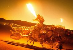 The metal #dragon-car was my favorite of the #vehicles. It wasn't the biggest, but the fully movable and #fire-breathing head was incredible. #BurningMan from #treyratcliff at http://www.StuckInCustoms.com - all images Creative Commons Noncommercial
