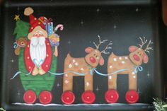 Large vintage walnut tray hand painted with by RamblingPaintbrush