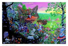 """Wonderland Poster - $9.99  Artist Tom Masse's objective in creating his own interpretation of """"Alice in Wonderland"""" was to involve each character from the first book into one majestic setting, while incorporating double imagery of creatures and persona's throughout the composition."""
