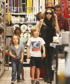 Angelina Jolie and kids.
