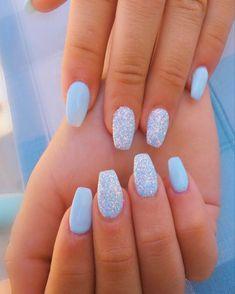 Light Blue Nail Polish, White Gel Nails, Light Blue Nails, Blue Acrylic Nails, Nail Polish Colors, Acrylic Nail Designs, Pastel Blue Nails, Polish Nails, Light Blue Nail Designs