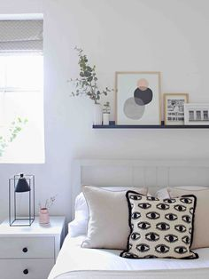 Use an IKEA mosslanda picture rail to display art / print of different styles and sizes neatly and compactly in a row when wall space is limited. Picture Ledge Bedroom, Ikea Picture Shelves, Bedroom Pictures, Ikea Shelves Bedroom, Ikea Wall Shelves, Bed Wall, Room Decorations, My New Room, Diy Bedroom Decor