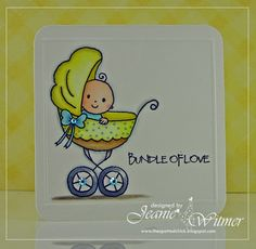 The Spotted Chick, Handmade Cards, Bundle of Love, Ladybug Crafts Ink, Pram Baby, Baby Shower Card