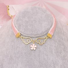 www.sanrense.com - Pink harajuku wings flower necklace SE9909