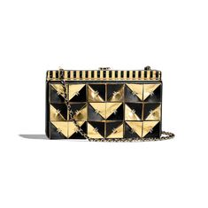 Clutch - Black & Gold - Lambskin & Gold-Tone Metal - Default view - see full sized version Chanel Clutch, Gold Clutch, Chanel Handbags, Clutch Bag, Crocodile Handbags, Chanel Store, Chanel News, Luxury Purses, Handbag Accessories