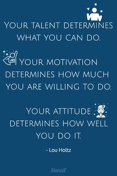 Your talent determines what you can do. Your motivation determines how much you are willing to do. Your attitude determines how well you do it. Great Quotes, Quotes To Live By, Me Quotes, Motivational Images, Inspirational Quotes, Positive Thoughts, Positive Quotes, Leadership, Lou Holtz