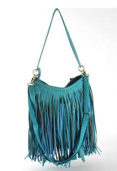Leather Fringe Purse | Turquoise Fringe Leather Designer Handbag - Diamond Boutique Fashion