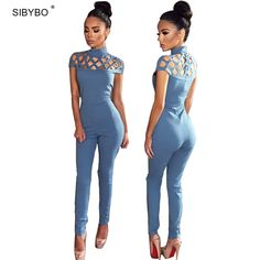 Rompers Womens Jumpsuit  2016 Autumn Elegant High Neck Cut Out Tight Club Party Women Bodycon Jumpsuit Sexy Bodysuit Overalls