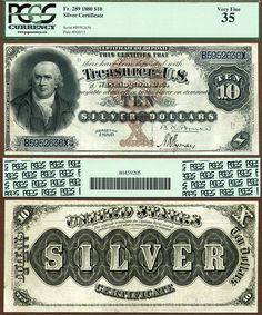 1880 $10 Silver Certificate FR-289 PCGS Graded VF35 Robert Morris Heritage 10-17-2012 IBIPLR Rare Coins Worth Money, Valuable Coins, Money Template, Coin Dealers, Money Notes, The Frankenstein, Silver Certificate, Euro Coins, Coin Worth