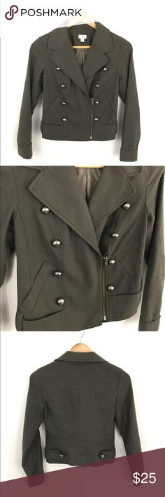 French Jacket Gorgeous Moto style Jacket. Dark gray color with zipper. No visual wear. So trendy and awesome to throw over a cute outfit for a night out! Frenchi Jackets & Coats