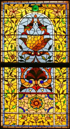 Chicago: Glass Art: Macy's Pedway : American Victorian Stained Glass [ Stylized Floral Window - by unidentified designer]