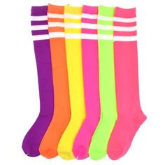 Angelina NEON Referee Knee High Socks with White Stripes Fun knee high socks for casual wear, for school, for sports, even as costume accessory. 12 pairs assorted color stripes for your everyday needs, to dress up or down Neon Accessories, Roller Derby Girls, Thing 1, Tube Socks, Drip Dry, Water Drip, Knee High Socks, Neon Colors, Bright Colors