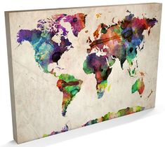 World Map Urban Watercolor Wall Art, Canvas Prints, Framed Prints, Wall Peels Stretched Canvas Prints, Canvas Art Prints, Canvas Wall Art, Big Canvas, Batik Prints, Tube Carton, Art Carte, Water Color World Map, World Map Canvas