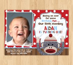 Sock Monkey Birthday Party Photo Invitation by creativepartyinvite, $11.00