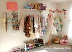 "Closet Organization Thread - ""/cgl/ - Cosplay & EGL"" is imageboard for the discussion of cosplay, elegant gothic lolita (EGL), and anime conventions. Dakota Rose, Dream Bedroom, Girls Bedroom, Bedroom Decor, Bedroom Inspo, Bedroom Ideas, Girl Closet, Room Closet, My New Room"