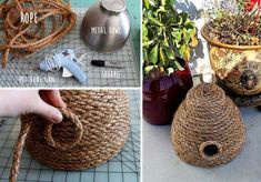All you need is a metal bowl, rope, hot glue gun and a Sharpie. You can use any bowl, but the sugges Rope Crafts, Crafts To Make, Easy Crafts, Crafts For Kids, Bee Skep, Bee Hives, Fiesta Baby Shower, Bee Theme, Summer Crafts