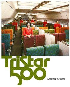 Lockheed L-1011 tristar aircraft - Interior design magazine advertisement. Wish airlines still had this much style.