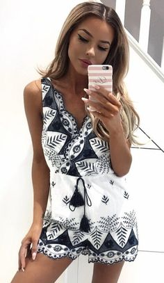 #spring #outfits White Printed Romper