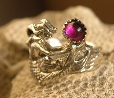 Silver Mermaid Ring with Garnet by freedomjewelryusa on Etsy