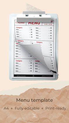 Create a menu from template Menu Template, Templates, Menu Online, Restaurant Menu Design, Lunch Menu, Create, Stencils, Vorlage, Models