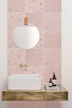 Light pink terrazzo tile on bathroom wall vanity backsplash. Small Bathroom Floor Plans, Small Bathroom Tiles, Bathroom Flooring, Bathroom Wall, Bathroom Interior, Bathroom Ideas, Bling Bathroom, Rental Bathroom, Office Bathroom