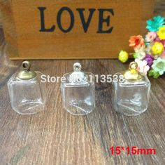 50sets/lot 15*15mm square cube glass globe cover with 8mm silver/bronze/gold metal cap empty vial pendant diy jewelry findings